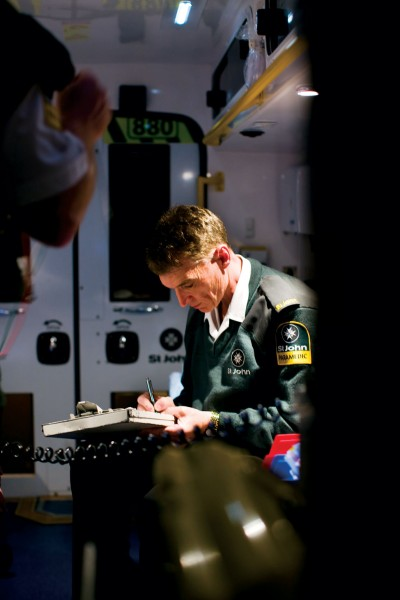 A log is kept of the callouts. John Bramhall files details on his clipboard, ensuring that emergency procedures can be monitored and improved.