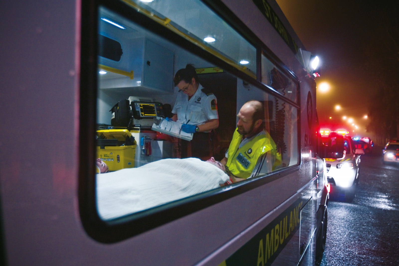 An important task of the paramedics is to ascertain the severity and any possible complications of an injury, reporting them back to hospital so that preparations can be made for the patient's arrival.
