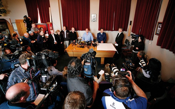 The media scrum converges on the CEO of Pike River Coal Peter Whittall at Greymouth Police Station on November 20. Media interest is high in mining disasters because, though death tolls are little higher than other industries, deaths are regularly multiple.