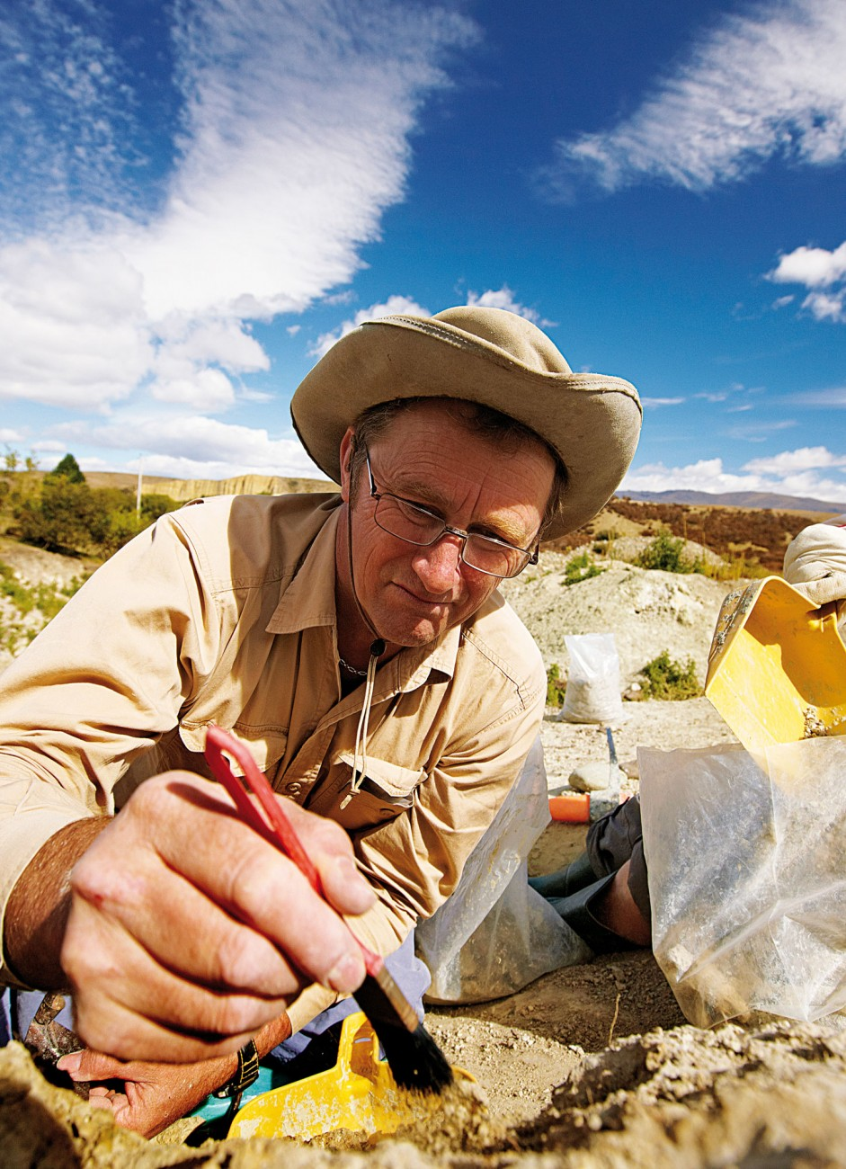 Palaeobiologist Trevor Worthy excavates fossils from a riverbank in St Bathans, Central Otago. Often metres of rock are removed to reveal a special layer of ancient sediment which is sometimes just a few centimetres thick. Tools of the trade range from the large bucket on a 10-tonne digger to fine dentistry probes repurposed for a new life scraping silt from around fossils. Once exposed, bones are carefully packaged and removed to a laboratory for preparation under a microscope—cleaning, consolidation and reassembly of the fragments.
