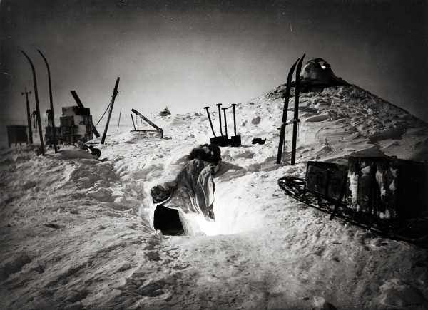 During the long, dark months of the 1912 winter, the hut at Commonwealth Bay lay buried in snowdrift, and the men reached the outside world via a skylight.