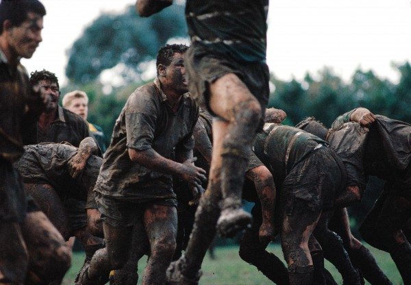 "Despite encroachment into summer by the professional game, club rugby is played in winter when ""heavy"" conditions can turn a field into a mud pit, often rendering team colours indistinguishable."