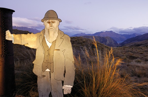 High above the bright lights of Queenstown, an image of Julien Bourdeau stands at the pass to Skippers Canyon. The French-Canadian packer, store-keeper, publican, farmer and mailman made twice-weekly return trips between the goldfields and Queenstown with his packhorses for 50 years until his death, age 87, in 1916.