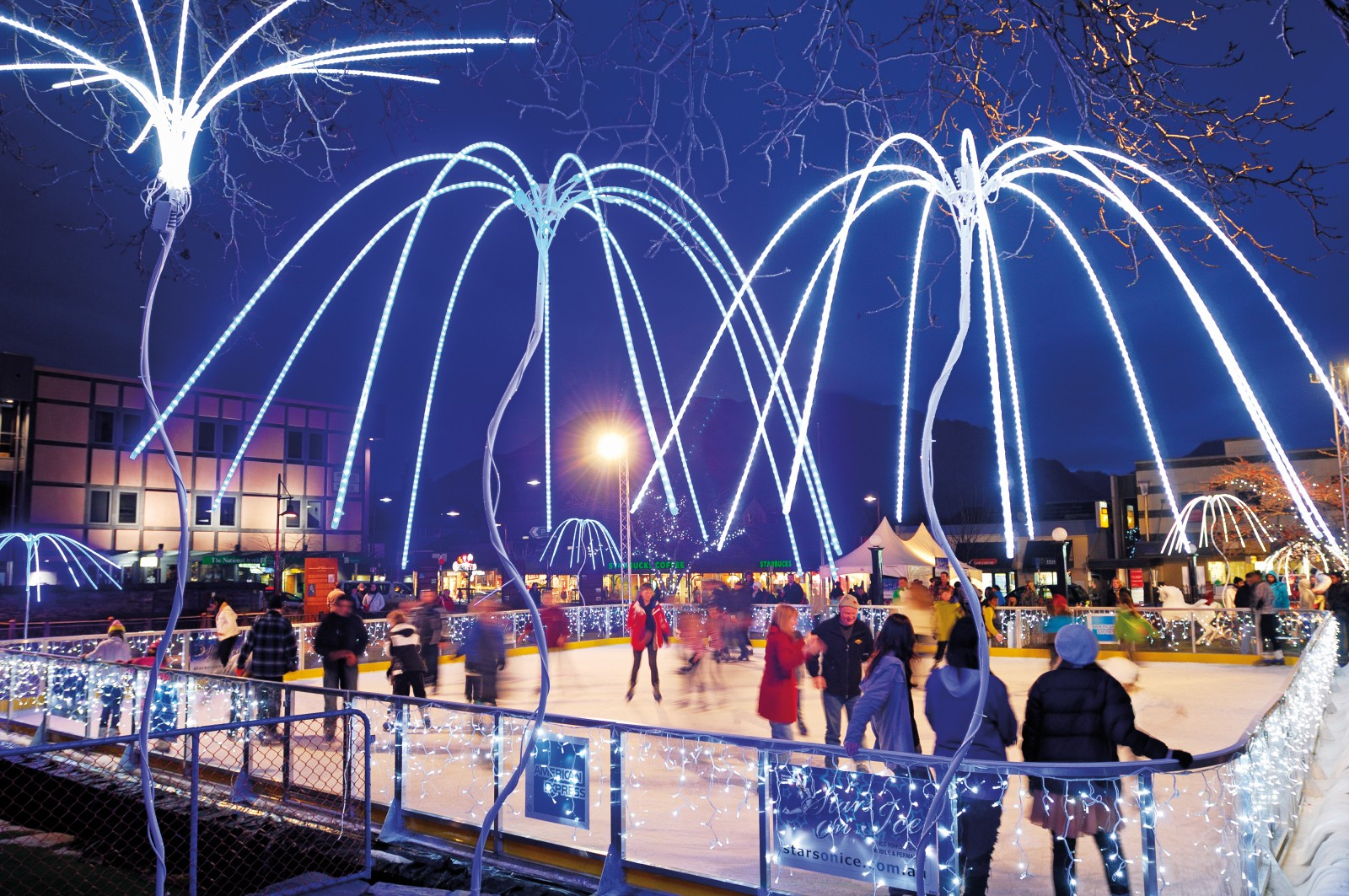 An outdoor skating rink, assembled on Queenstown's Village Green, was a focus of the 2011 Winter Festival. Brought in from the United States, the 15 sqm rink was filled with 20,000 litres of water, frozen over three days and bedecked with fairy lights and neon to bring a sense of winter to a town unseasonably starved of snow.