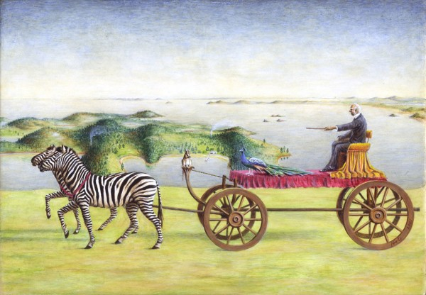 Hamish Foote's 2001 work, 'Allegorical Triumph of Sir George', parodies Governor George Grey as a kind of antipodean Dr Doolittle. In the 1860s, Grey sought to turn Kawau Island, in the Hauraki Gulf, into an earthly paradise, brimming with cosmopolitan bestiary. His menagerie included kangaroos, wallabies, antelopes, monkeys, zebras, gnu, emus, peafowl and kookaburras. The dama, or tammar, wallabies he brought are now threatened in their native South Australia, and their descendants may yet be repatriated to re-stock their homeland.