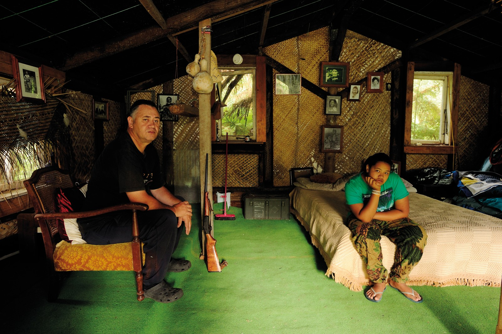 "When the family house was washed away by a flood in the Waimana River, Maui Te Pou built a whare high on the side of the Matahi valley, which is now a sleep-out for his 12-year-old granddaughter Taonga Freedom Teaonui. The girl—whose first name means 'treasure'—is being raised in the whangai tradition, in which children are informally adopted by other whanau members, often grandparents, who instil in them Tuhoe values and beliefs known as tikanga. ""Our total tikanga boils down to one word: respect,"" says Te Pou. ""You respect me, I respect you—we're off to a good start."""