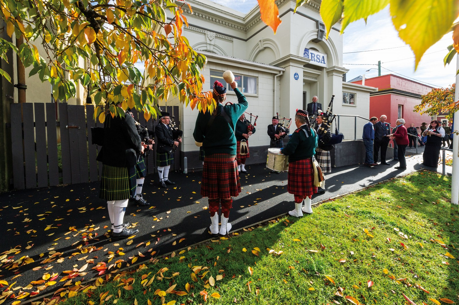 East Otago's colours of gold and green are shown off in autumn when they form a poignant backdrop for ANZAC Day commemorations. Here a pipe band offers a lilting soundtrack to the ritual of whisky, cups of tea and sandwiches in the Palmerston RSA. Inside, a photograph honours one of New Zealand's most decorated war heroes: although bomber pilot James 'Fraser' Barron was born in North Otago, his mother lived in Palmerston for many years.