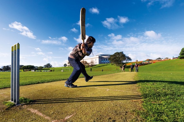 As well as a natural realm within the crowded city, Auckland Domain serves as a centre for recreation. Pakistani and Afghan social cricketers use the Domain year round, part of a long tradition of cricket dating back to the historic 'England versus World' match in 1874. The fields were part of the original crater from the Domain volcano, later a swamp where Maori caught eels, and in 2012 the 'super special stage' of the Rally of New Zealand (below), an event that saw the normally peaceful Domain given over to the roar and fumes of motorsport.