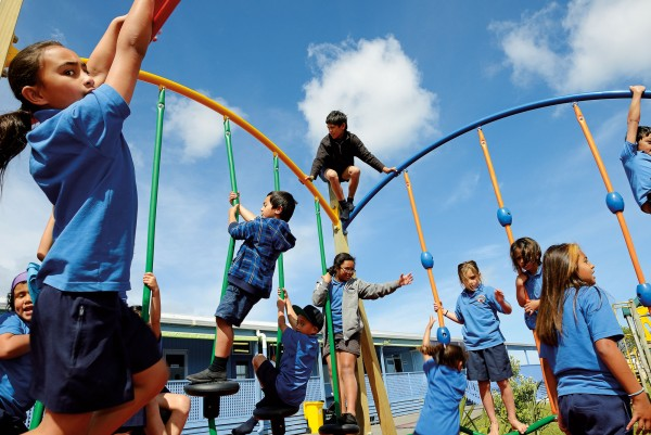 """He Whakaputanga is at the heart of everything we do,"" says Hilda Halkyard-Harawira, principal of Te Rangi Aniwaniwa school in Awanui. The students—here trying out new playground equipment—are taught in Maori, in recognition of the sovereignty asserted by northern rangatira in their declaration."