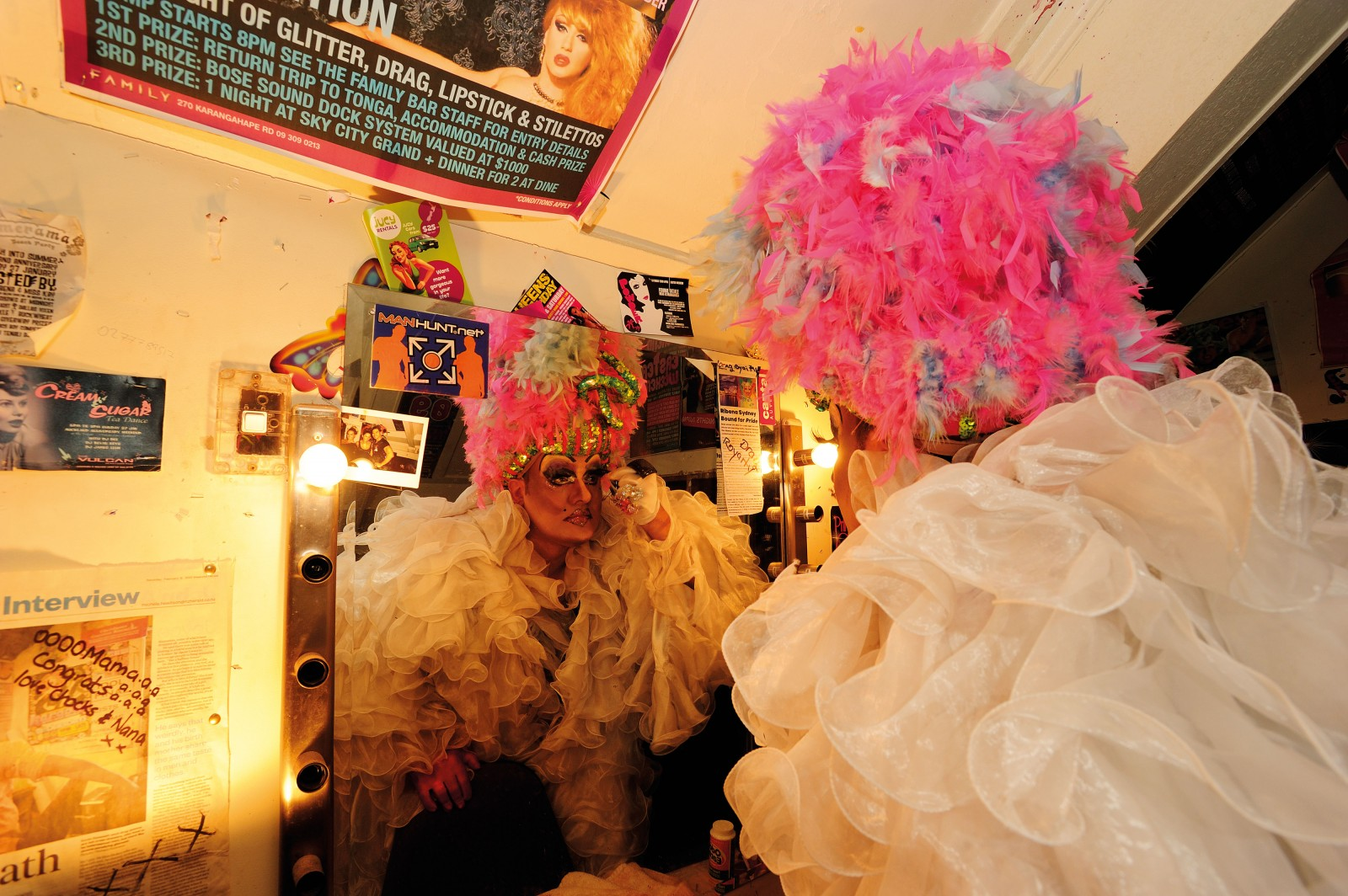 Kevin Dunseath, aka Drag Queen 'Miss Ribena', makes last-minute touchups to his appearance in a backstage dressing room at the Family Bar before heading on stage for the Friday night drag show. On Wednesday nights he hosts Queery Karaoke nights at the popular gay venue.
