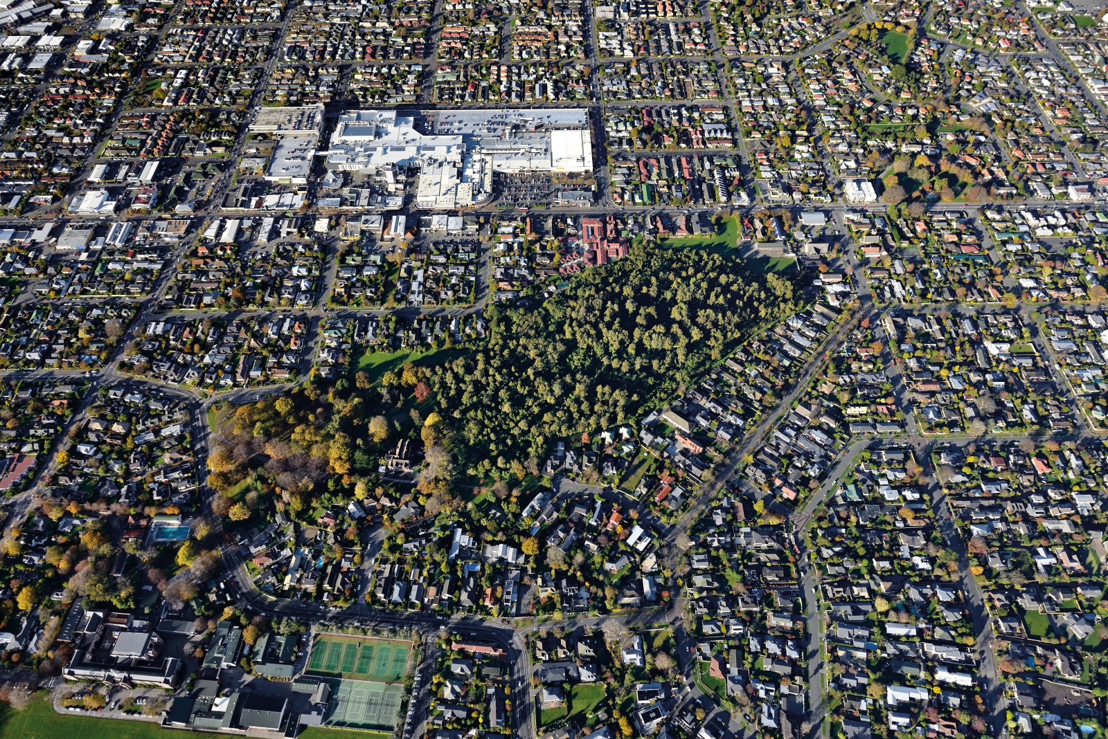 Covering much the same area as the nearby shopping mall, Riccarton Bush (also known as Deans Bush, after the family that bequeathed it to the city of Christchurch) is the last remnant of Canterbury's original indigenous forest. In this autumn photograph, a clear distinction can be seen between evergreen native forest to the right and introduced deciduous trees to the left of the Deans' former homestead.