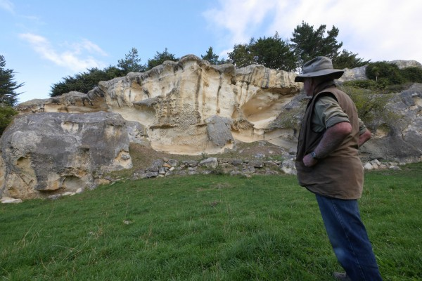 John Hore on his farm Anatini near Duntroon. While farming has traditionally sustained the local economy, the fickleness of weather and markets has often made working the land here a marginal enterprise. Hore and others have laboured hard to promote the Waitaki Valley's palaeontological wonders, both as an expression of their passion for the area and in an attempt to draw tourism to the region.