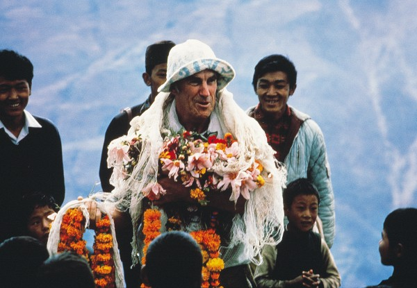 The Sherpas of Goli Gypsoa were lavish in their gratitude to Hillary for making possible the construction of a school in their community in 1971.