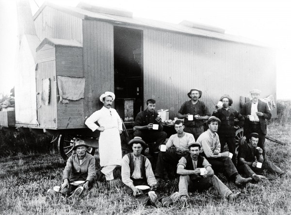 Colonial New Zealand was built on the sweat of itinerant workers-shearers, ditchers, fencers, rouseabouts, rabbiters, bushwhackers, station hands and the like. These men, such as the threshing gang pictured above, would walk from station to station, working for as long as there was a job and often being fed from a mobile cookhouse. Unlike such roughnecks, the professional swagger was a rolling stone who was happy to walk but saw no need to work.