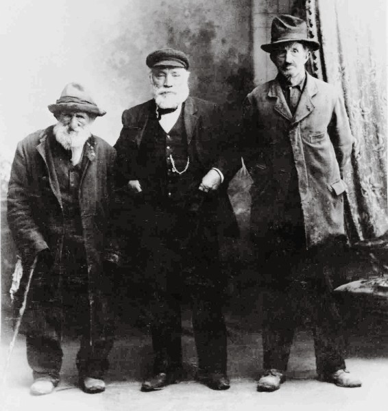 "The hardships and isolation of pioneering life fostered a breed of ""unstandardised men,"" writes John A. Lee, the chronicler of swaggerdom. These three certainly seem to qualify. On the left is Barney ""Whiterats"" Winters, who swagged almost until his death at age 90, in 1911. On the right is Tom Pepper, a ""remittance man,"" and between them is Bill Howie, whose swagging credentials are not known. Perhaps he paid for the photograph!"