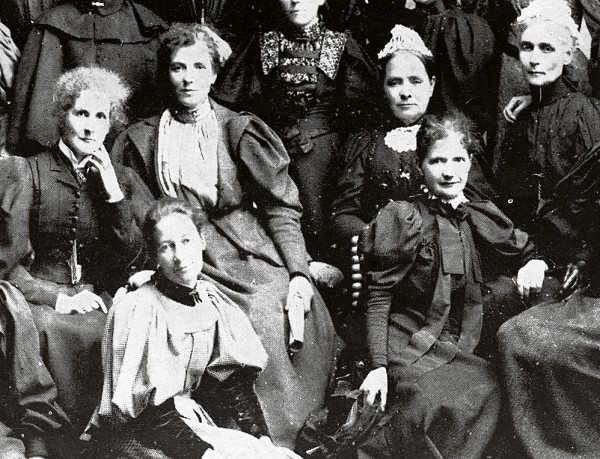 Several members of the National Council of Women, including president Kate Sheppard (left rear) and Wilhelmina Bain (right front) denounced this and all wars.