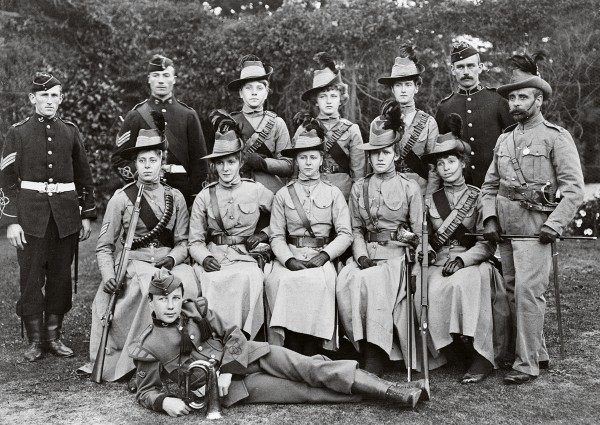 "Although women could not serve as soldiers, many, such as these ""Wellington Amazons"" posing with members of the Wellington Militia, formed brigades for fundraising purposes."