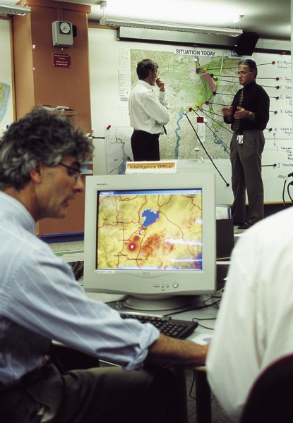 In the basement of the Beehive, Parliament's hive- shaped executive building, the main concern is not politics but disaster management. The Ministry of Civil Defence and Emergency Management has its National Emergency Operations Centre here, and simulated emergencies—on this occasion a lahar event following a volcanic eruption—are regularly rehearsed.