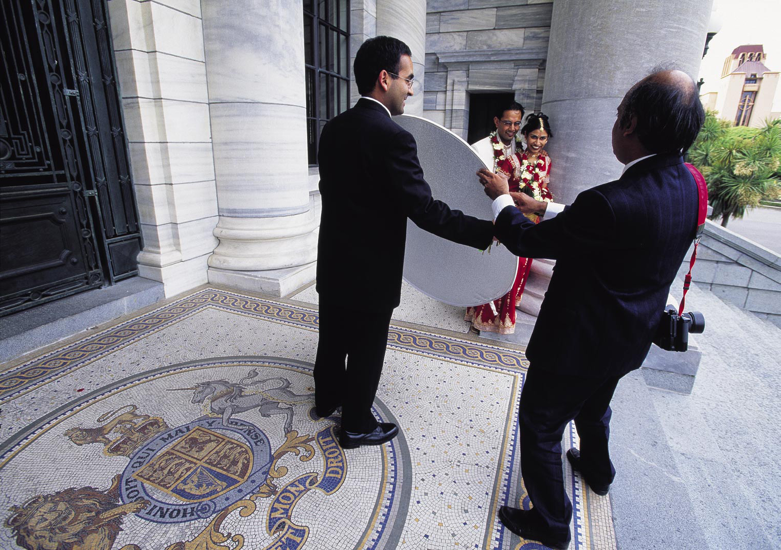 Parliament is the scene of more than just lawmaking and politics. Wellingtonians Mitesh and Sueneta Patel chose to have their wedding photographs taken on the steps of Parliament House because they admired the marble pillars.