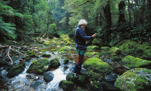 The position of every outcrop sampled for its composition must be accurately recorded, a task made considerably easier by the advent of the Global Positioning System. Here Mo takes a GPS reading of an outcrop in the bed of an unnamed stream which flows out to the coast north of the Newton River.