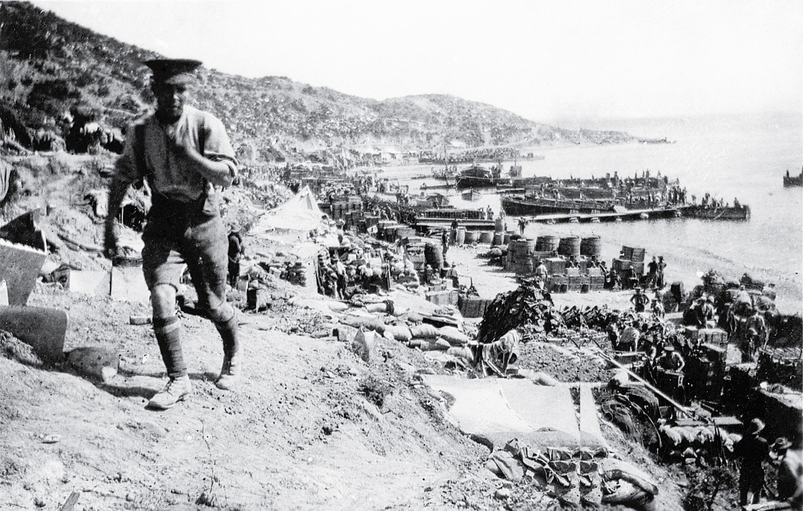 The only way to get reinforcements and supplies, including water, to the beleagured army dug in along the ridges and gullies of Anzac was via the congested beach at Anzac Cove.