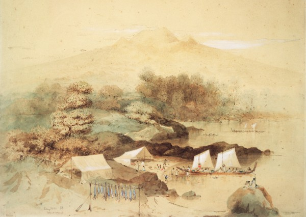 Rangitoto featured in several of Charles Heaphy's 1850s paintings, including one of a Maori fishing camp similar to those thought to have existed on Motutapu when Rangitoto erupted. Another showed a very bare and topographically exaggerated summit to the island. Fires lit by visitors and depredations by wild goats explain the absence of vegetation. Before cars became commonplace, a visit to Rangitoto was a popular excursion for Aucklanders. It is the closest of all the gulf islands to Auckland, lying only 7 km from the port.