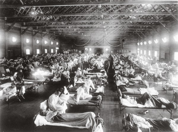The world over, numbers of patients outstripped medical facilities and large buildings such as warehouses and concert halls became emergency hospitals. Like this makeshift hospital in Kentucky, Auckland's Ellerslie racecourse grandstand became a convalescent home for children, many of whom were orphaned by the epidemic.