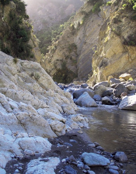 In Mead Stream, Clarence Valley, Marlborough, layers of white limestone deposited during the Eocene Epoch about 55 million years ago reveal details about a catastrophic and short-lived warming of the climate.