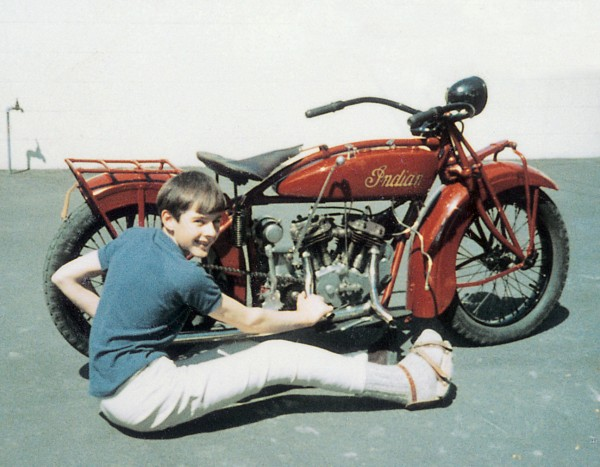 As a kid, John spent a lot of time in his father's cycle shop and made his first go-kart at age six. By 11, he had saved enough money to make a new motorised model (top), and at 13, he began to restore an old 1927 Indian motorcycle.