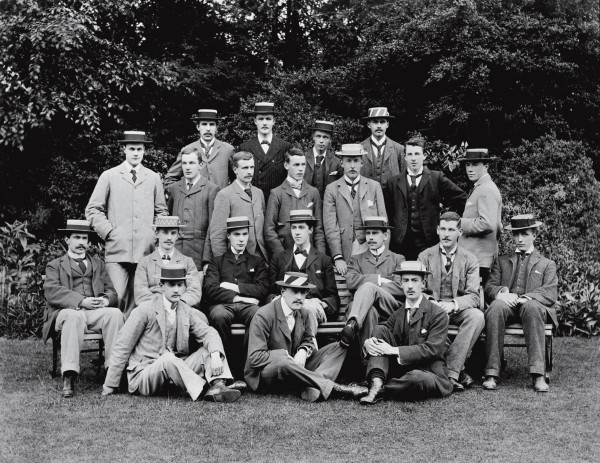 From such an undistinguished beginning, Rutherford won a scholarship to Cambridge University where he was photographed in this group of young gentlemen in 1895, the year of his arrival. He is identified but we put him at the left end of the back row.