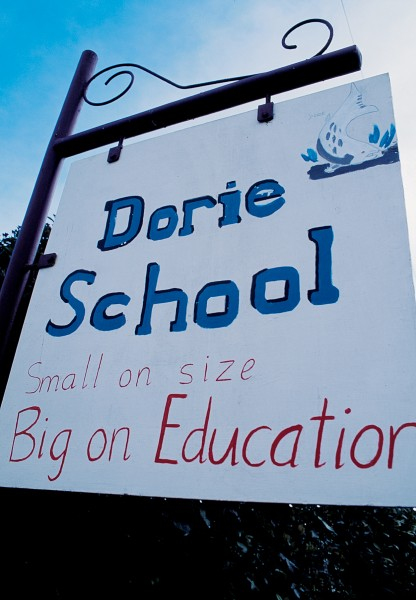 For Dorie School, the sign says it all. The 59 pupil school is one of several in Ashburton district slated for closure despite strong local opposition. Schools are at heart of small rural communities, and the presence of a local school often attracts hard-to-get workers onto nearby farms.
