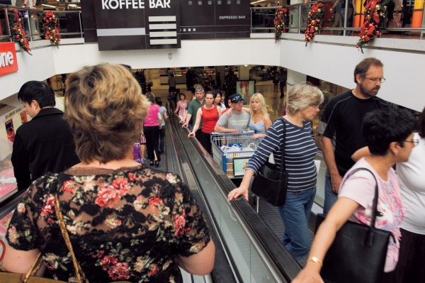 Escalators provide easy access o the several levels of shops and make it easy t get even trolleys of goods back to the car parks