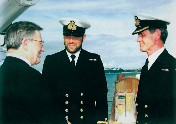 PM Jim Bolger farewelled the HMNZS Tui which sailed in support of the flotilla, and a number of companies, including Watties, also assisted or sponsored flotilla yachts enjoyed the fair weather New Zealand Maid was experiencing here en route to Moruroa.