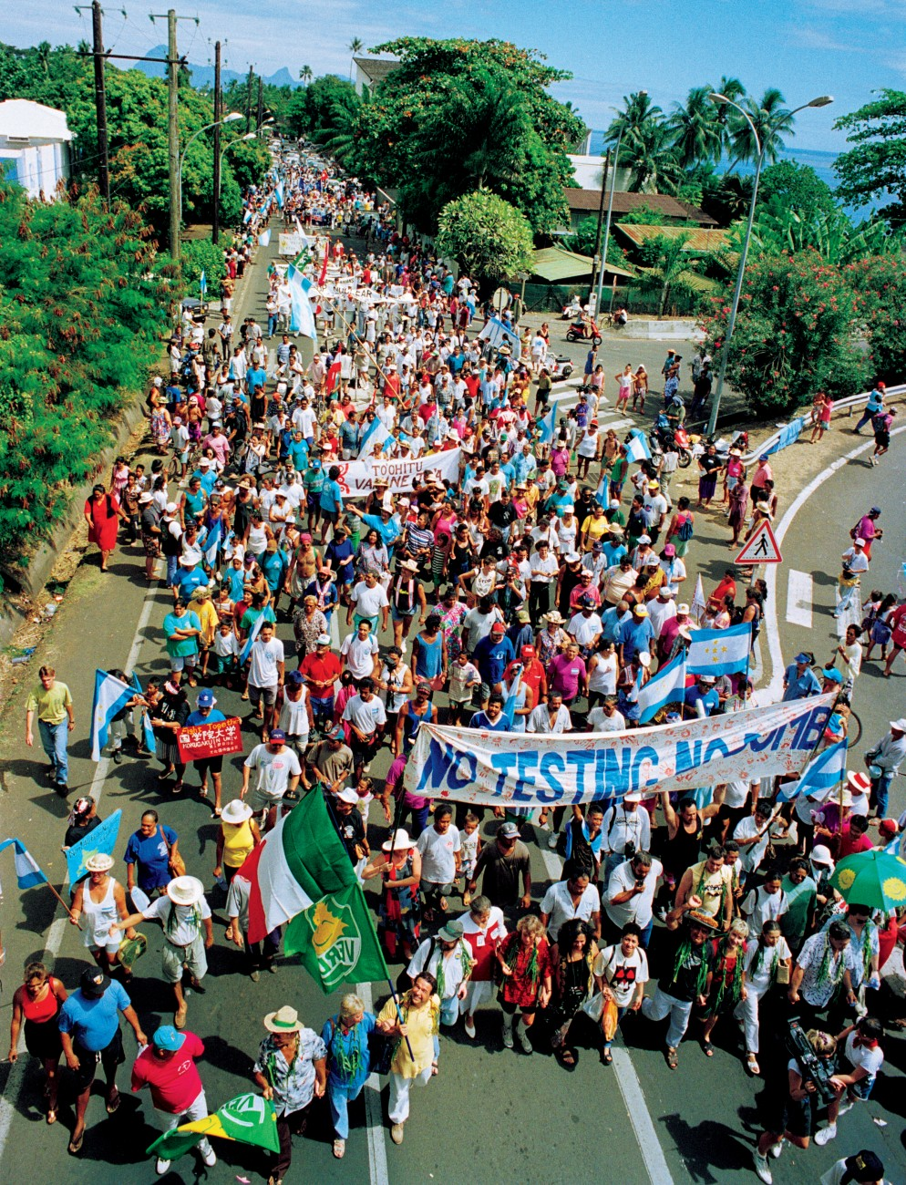 Locals marched around Tahiti for several days protesting the tests. On the last day they were joined by international supporters, including NZ politicians.