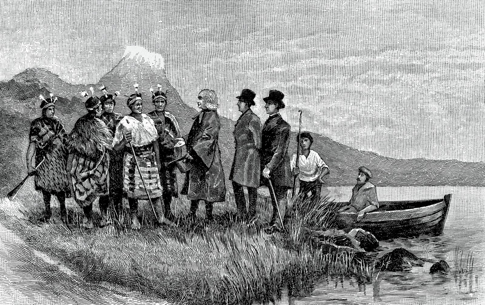 """A fanciful reconstruction of the """"landing of Samuel Marsden at Bay of Islands, December 19, 1814."""" Since the party didn't reach the Bay of Islands until the 22nd, this is more likely a depiction of the arrival in Whangaroa, which also fits better with the distinctive hill in the background. Marsden's hatted companions were likely Thomas Kendall and William Hall, would-be settlers to assist with the establishment of a mission, and who had already visited NZ earlier in the year."""