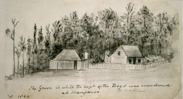 Marsden came to Australia in March 1794 as assistant chaplain in New South Wales, but also became a magistrate and competent farmer. By 1806 he owned 1400 sheep and nearly 300 acres. The vicarage at Parramatta was a far cry from the primitive conditions he experienced during his six trips to New Zealand, where even cabins such as this (situated where the Boyd's captain was killed) were unusual.