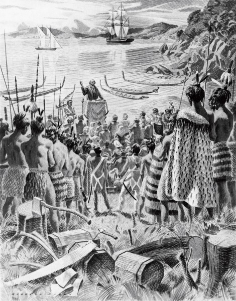 A depiction of Marsden's first sermon, December 25, 1814 at Oihi Bay, on the blunt western head of the Bay of Islands. Ruatara, in military uniform beside the makeshift pulpit, translated the message to the Maori.