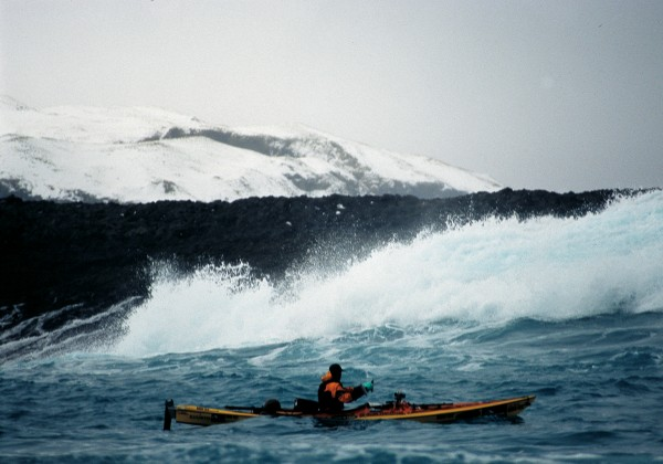 Brash ice was hard to paddle through, and there were often waves to contend with.