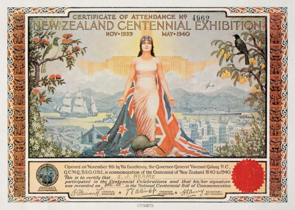 Kowhai has regularly been used as an unofficial emblem of New Zealand, as on this elaborate attendance certificate below where the flower flanks noble Zealandia (see NZ Geographic 23, 1994).