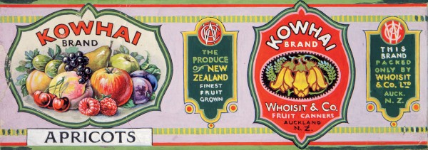 On apricots canned by the enigmatic Whoisit & Co of Auckland.
