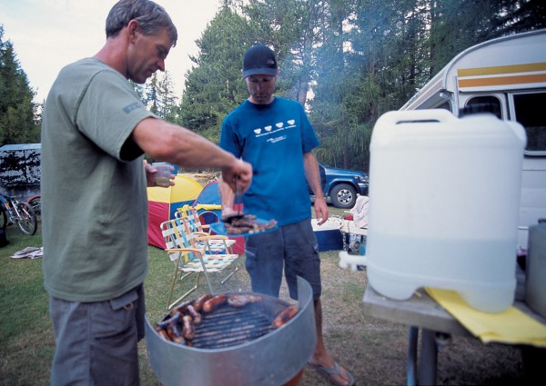 Sites at the camp cost $10 a night--and that includes unlimited showers and use of a washing machine. Barbecues and jerry cans of water lie at the heart of food preparation for campers.