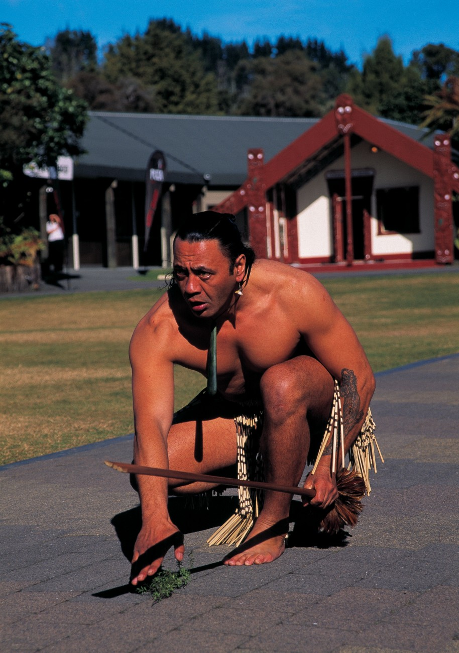 Te Puia, formerly the New Zealand Maori Arts and Crafts Institute in Rotorua, is upgrading its story telling techniques using $17.5 million of its own money but will always promote traditional Maori arts, crafts and culture. A warrior performs a wero (challenge) for the daily midday concert at Te Puia.