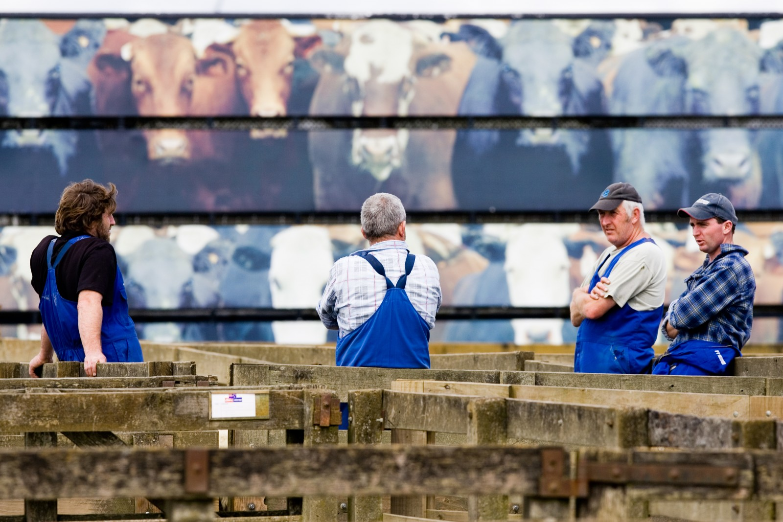 Truck drivers take a short break against the backdrop of a mural on the side of a stock truck.