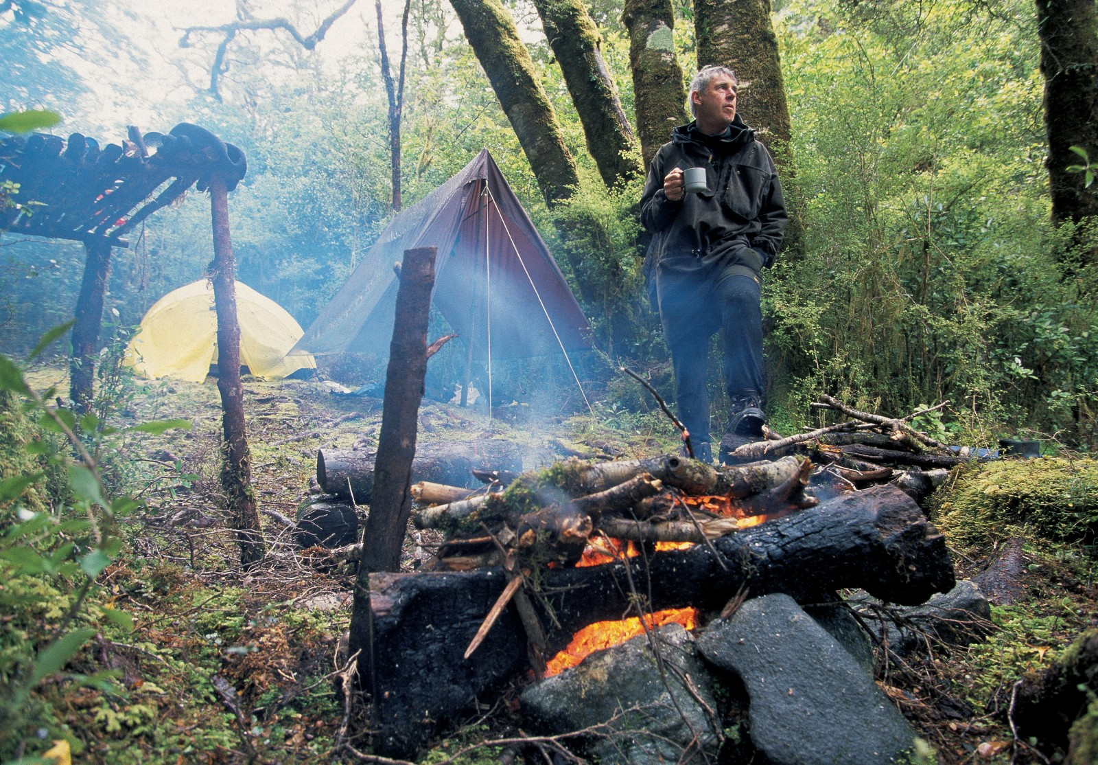 Ken Tustin, regularly accompanied by his wife Marg, has spent many months camping in Fiordland over the years, as they search for moose and clues to the biology of these elusive animals. Mostly they camp by Herrick Creek which empties into the south side of Wet Jacket Arm, an area in which they have found frequent signs of moose.