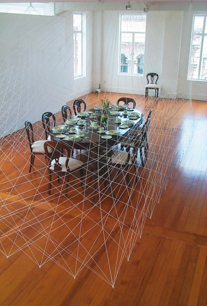 The Dinner is an installation work conceived in collaboration with his wife, sculptor Fiona Gunn. Cree Brown produced a sonic setting suggestive of a lively dinner party, to form a commentary that integrat- ed with Gunn's austere formal arrangement.