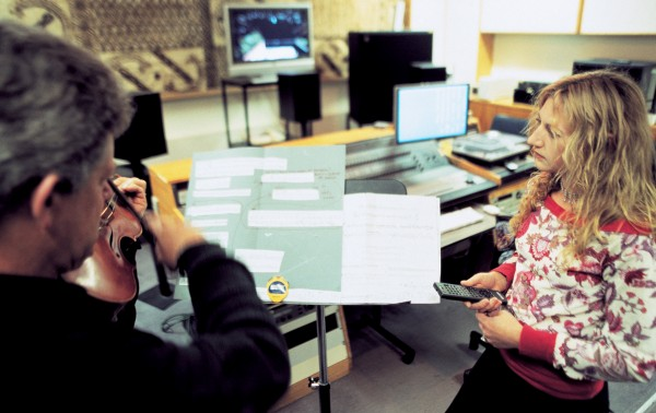 In newer surroundings, studio director Lissa Meridan records Donald Maurice for her piece Tunnel Vision, for solo viola and train, written to celebrate the studio's 40th anniversary.