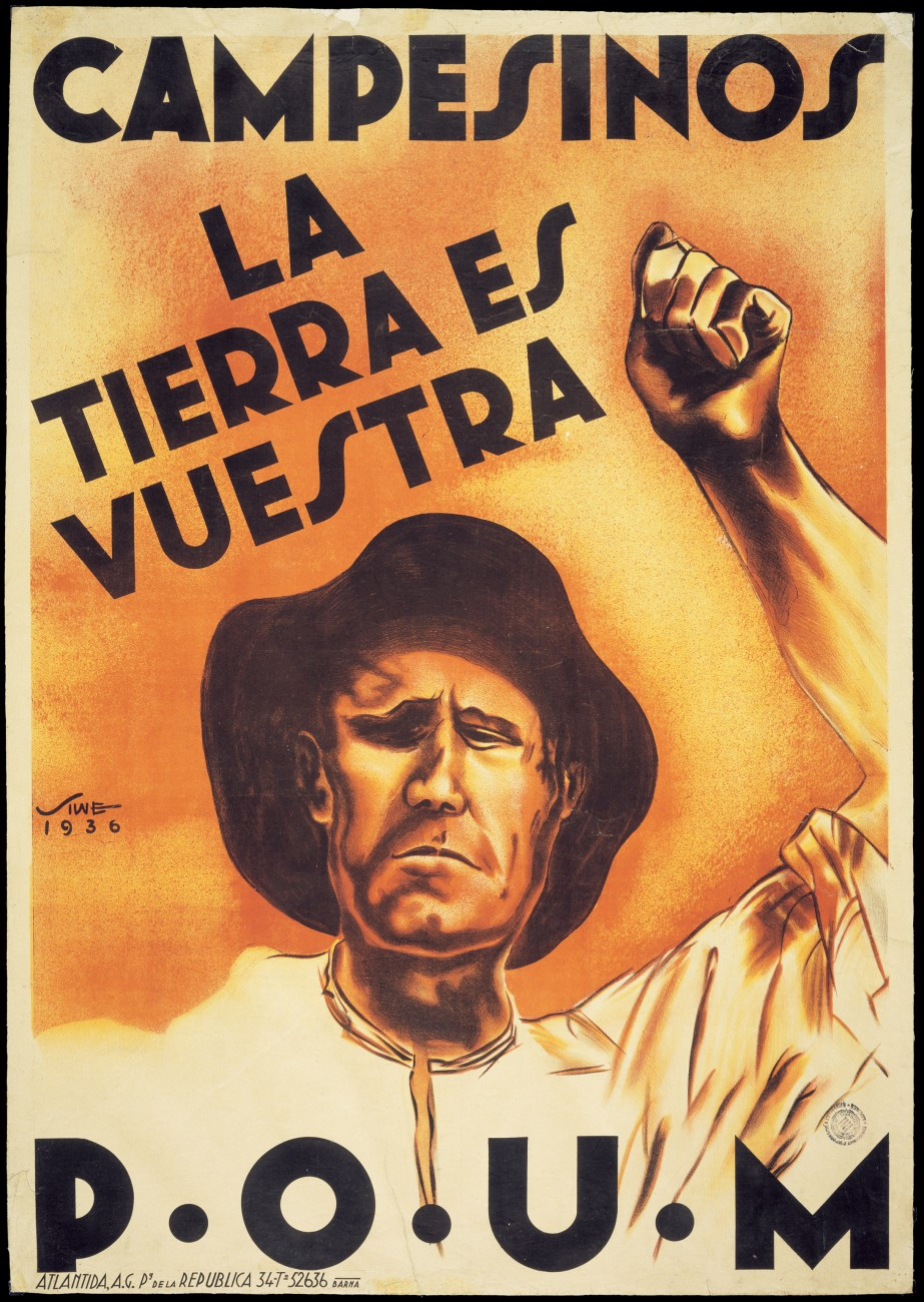 """Farmers—the land is yours"" asserts a propaganda poster, celebrating the collectivisation of farms which had been worked by generations of peasants who held no rights to them."