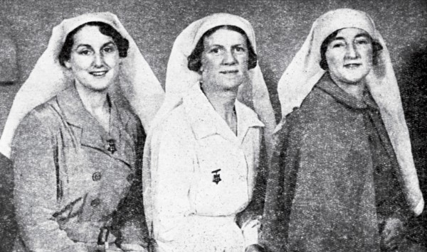 """New Zealand's Nurses, New Zealand's Responsibility,"" read the text on this postcard designed to raise local support for the anti-fascist cause. From left to right, Nurse Isobel Dodds, Sister Rene Shadbolt and Nurse Millicent Sharples were selected and funded by the Spanish Medical Aid Committee to go to Spain and work in field hospitals tending those injured by Franco's forces."