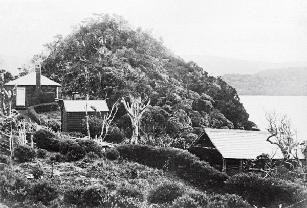 With the help of his temporary as- sistant, Andrew Burt, he built a three-room house (left), a store (centre) and a boatshed on Pigeon Island, close to Resolution. Fears that his dog might upset the birds kept him from living on Resolution itself.