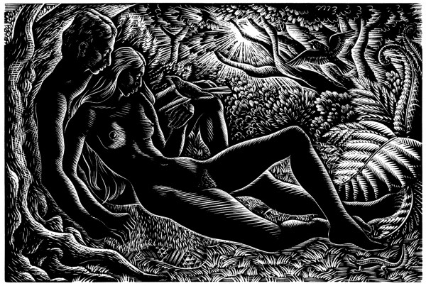 Idyll, 1949 is one of three works that Taylor made to illustrate the Maori creation story of Tane and the first woman, Hine-ahu-one. Many consider it to be his finest engraving.